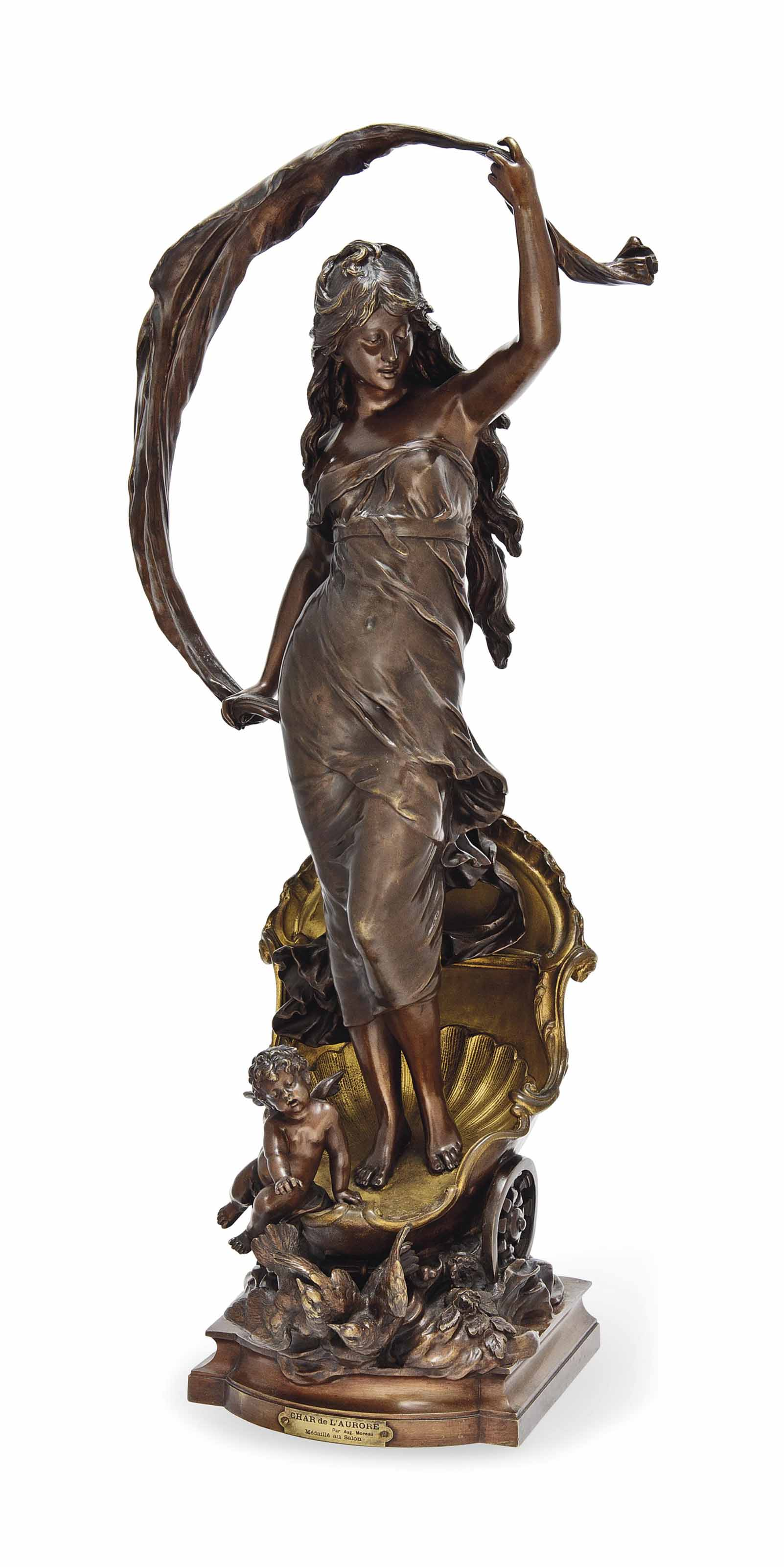 A FRENCH GILT AND PATINATED BRONZE FIGURE OF 'LE CHAR D'AURORE'