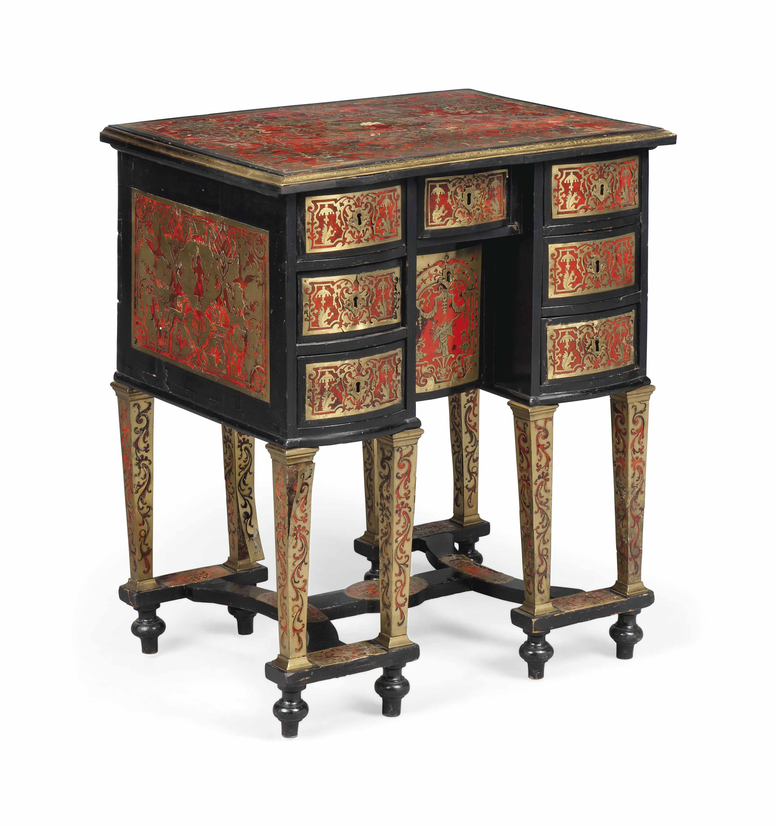 Side Table Bureau.A Small French Ebonised Cut Brass And Tortoiseshell