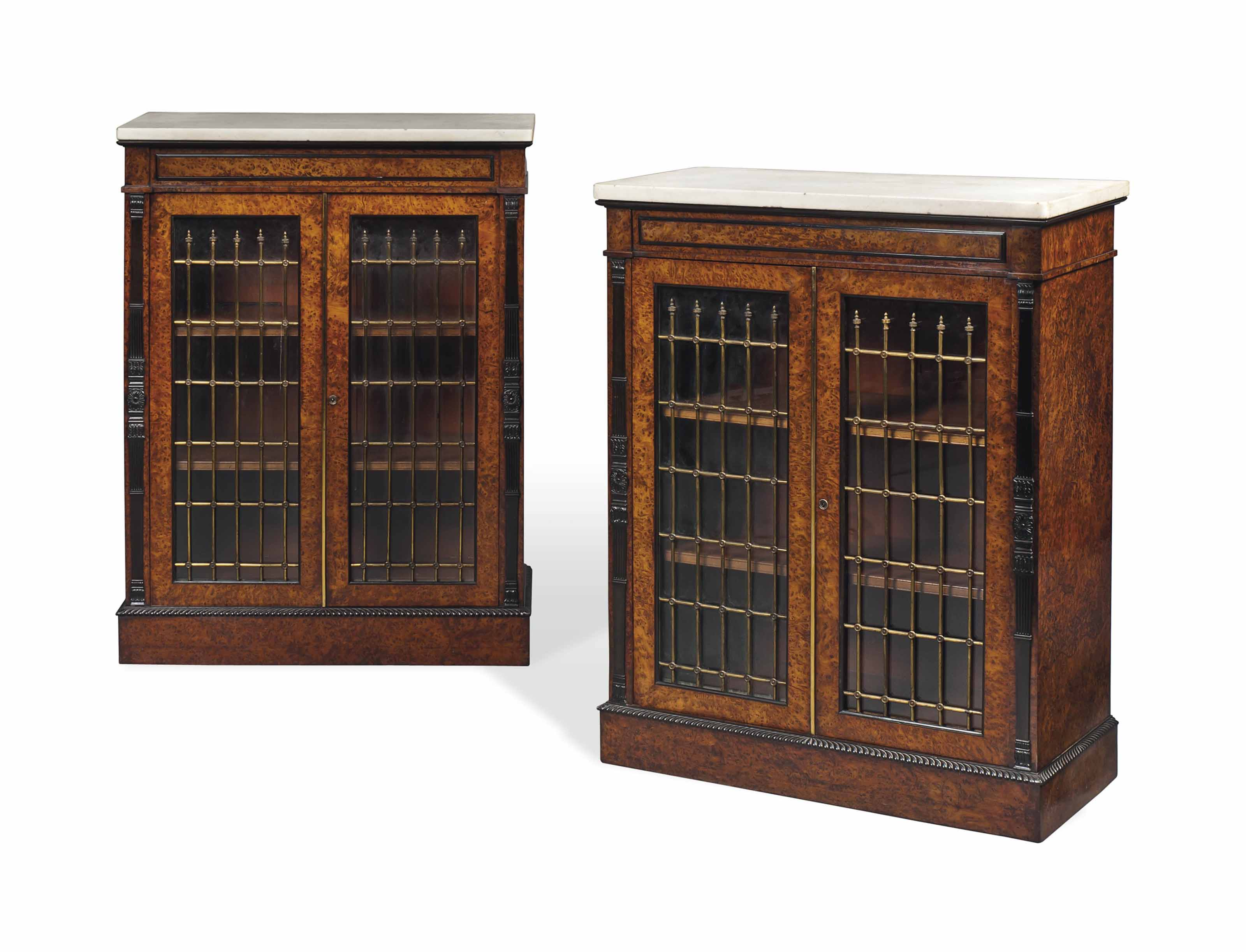 A PAIR OF GEORGE IV BRASS-MOUNTED BURR YEW SIDE CABINETS