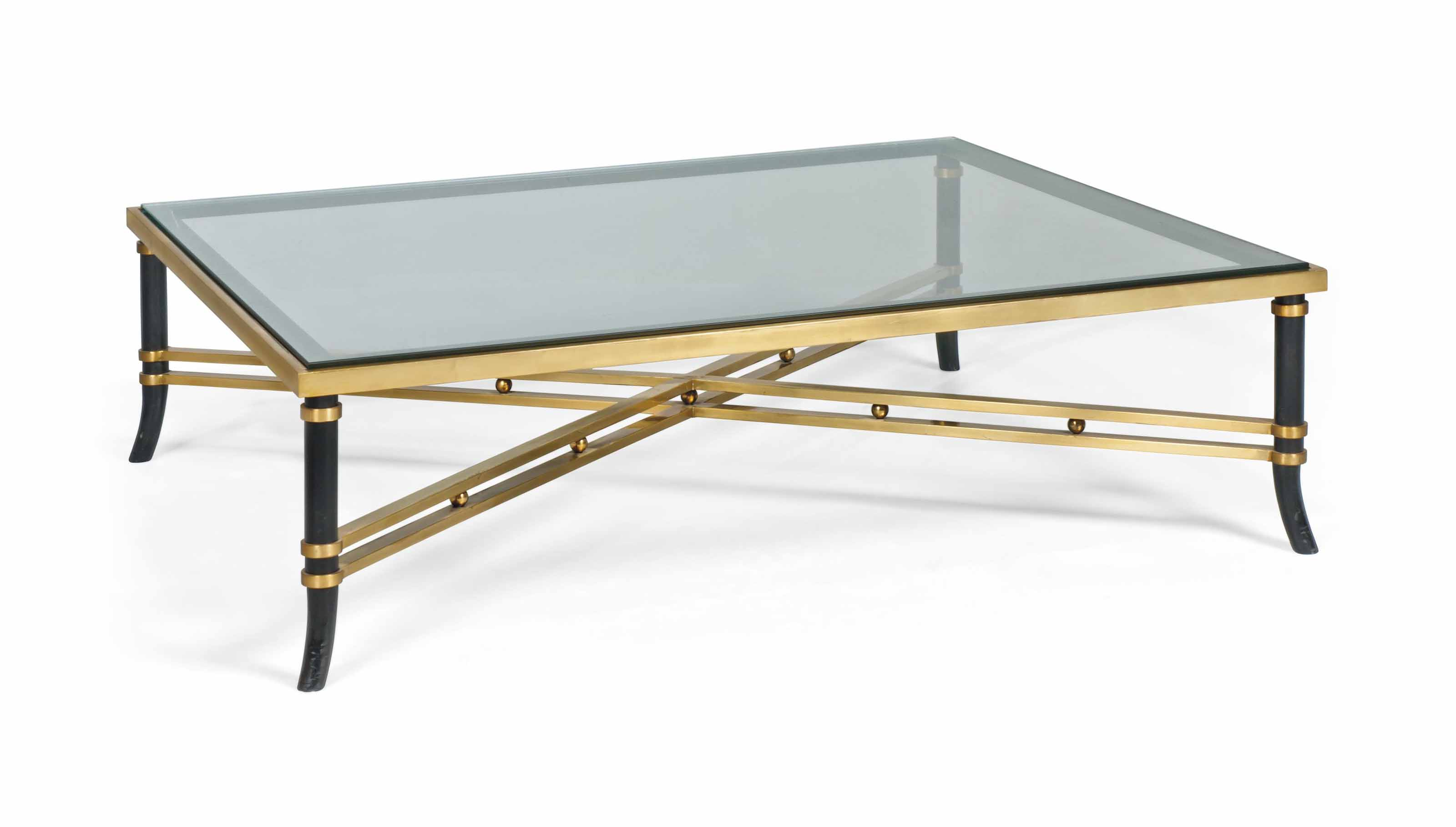 A FRENCH BRASS AND EBONISED METAL LOW TABLE