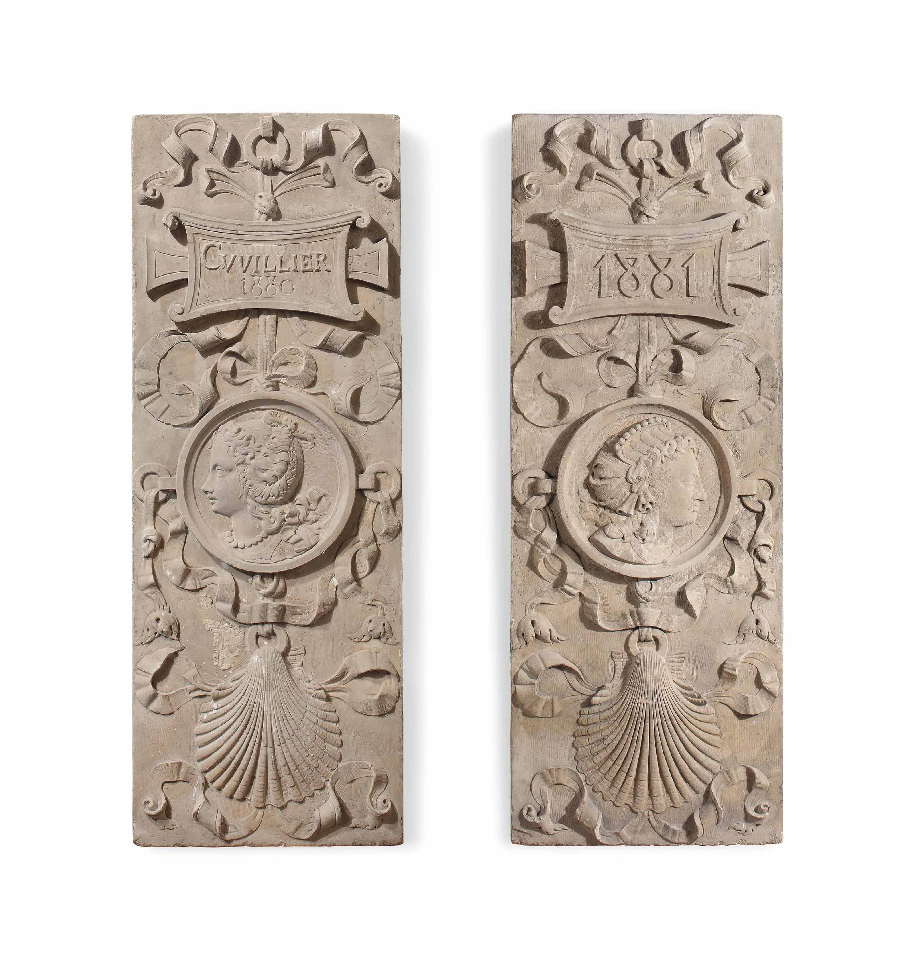 A PAIR OF FRENCH CARVED STONE RELIEF PANELS