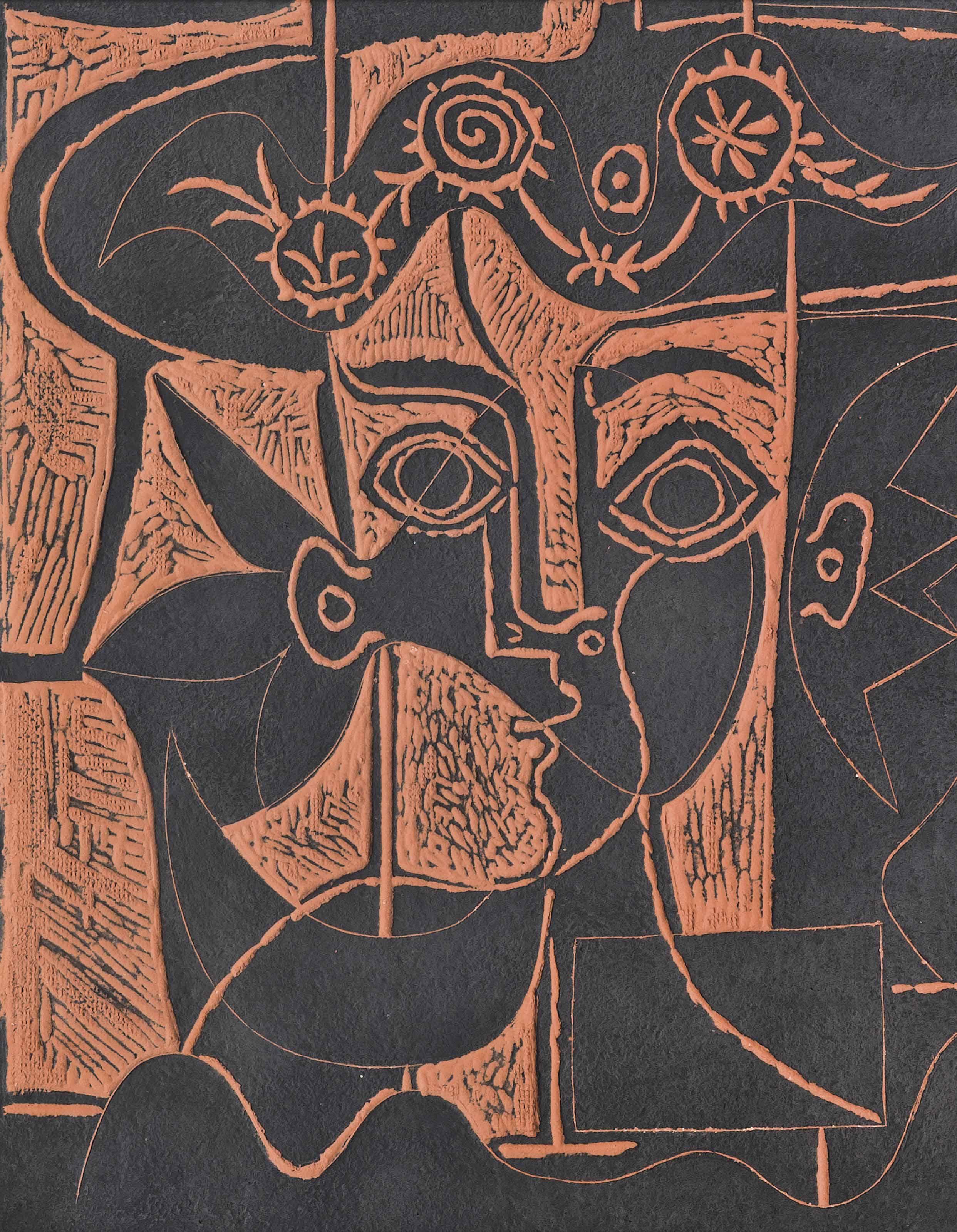 Pablo Picasso (1881-1973) | Grande tête de femme au chapeau orné ...
