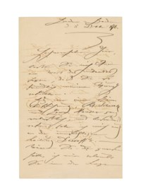 SCHUMANN , Clara (1819-1896). Autograph letter signed ('Clara Schumann') to an unidentified recipient, Baden Baden, 5 December 1876, thanking him for a favour, apparently an invitation to a concert in Karlsruhe, which she much admired, especially the performances of the singers Johanna Schwartz and Josef Hauser ('Es war einen schöne Aufführung, Frl. Schwartz und Herr Hauser ganz vortrefflich'), whilst the conducting of Felix Otto Dessoff gave her great pleasure; she regrets not having been able  thank the recipient in person ('Wären Sie da gewesen hätte ich mir erlaubt Sie in die Loge zu begrüßen und Ihnen persönlich zu danken'), two pages, 4to, bifolium.