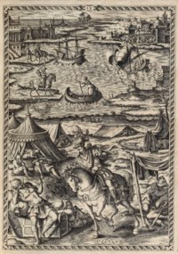 ARIOSTO, Lodovico (1474-1533). Orlando Furioso, edited by Girolamo Ruscelli, commentary by Alberto Lavezuola. Venice: Francesco de Franceschi, 1584. 3 parts in one volume, 4° (260 x 182mm). Engraved titles within architectural border, 50 (of 51) full-page engravings by Girolamo Porro. (Lacking repeated engraving at the start of Canto 34, without blanks u8 and l4 at end, small hole to illustration of Canto 10, occasional spotting). Late 18th-century blue morocco gilt, turn-ins and edges gilt (joints slightly cracked at head and foot). Provenance: Augustus Frederick (1773-1843; Duke of Sussex, armorial bookplate).