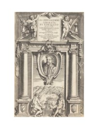 TASSO, Torquato (1544-95). La Gerusalemme liberata...Annotationi di Scipio Gentili...Luoghi Osservati dal Maggiulio. Genoa: Giuseppe Pavoni ad instanza di Bernardo Castello, 1617. 3 parts in one volume, 2° (289 x 196mm). Engraved frontispiece with portrait of Carlo Emanuele di Savoia, additional engraved frontispiece with portrait of the author and view of Genoa and 20 plates by Castello, 2 additional proof plates, woodcut head- and-tail pieces and large historiated initials. (Small hole on title and tiny tear to bottom corner, occasional light spotting and few small stains, light waterstaining to proof plates, plate V with some adhesion to next proof plate.) 18th-century red morocco gilt, gilt turn-ins and edges (light scuffing).