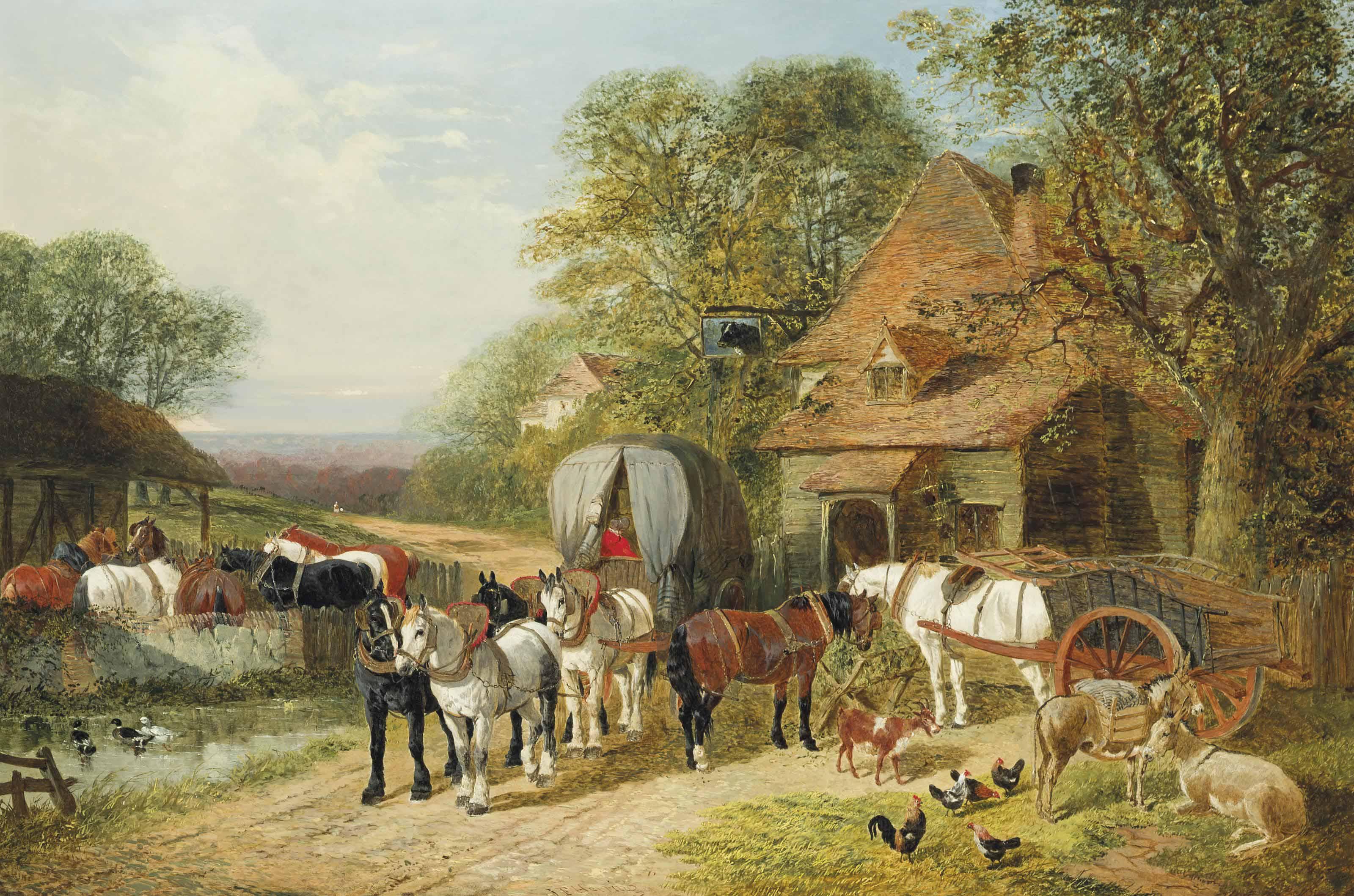 A halt outside the Bull's Head