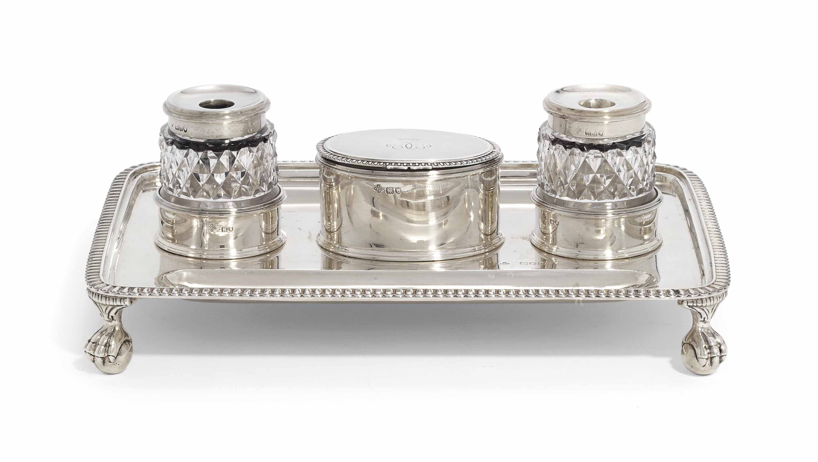 A VICTORIAN SILVER INKSTAND