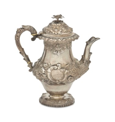 A GEORGE IV SILVER COFFEE POT