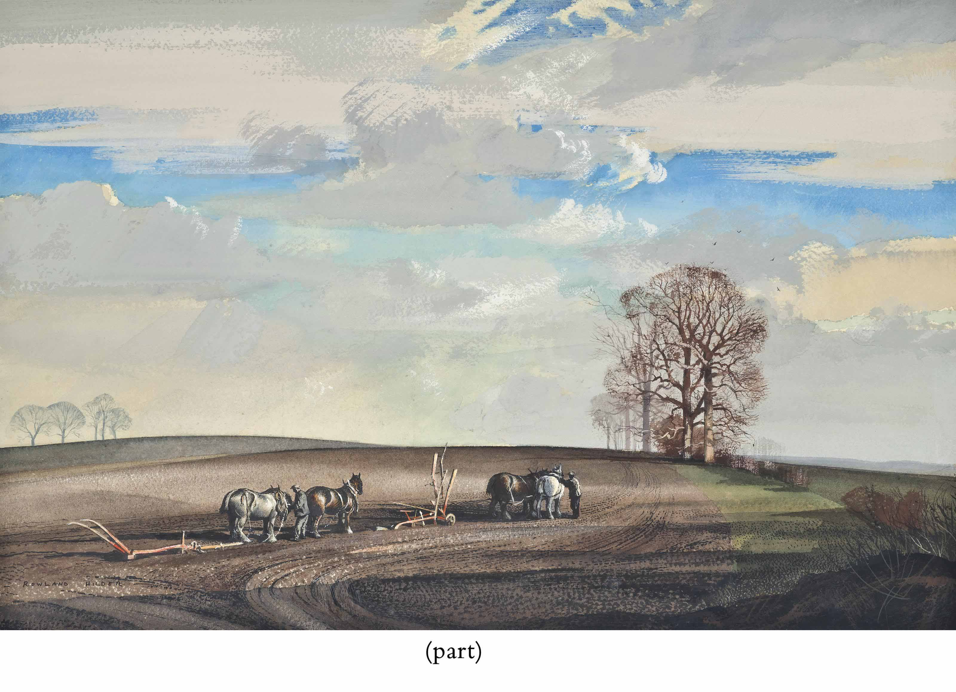 The plough team (illustrated); and Winter landscape, Essex