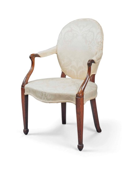 A GEORGE III OPEN ARMCHAIR