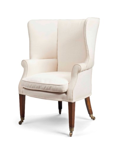 A GEORGE III WING ARMCHAIR