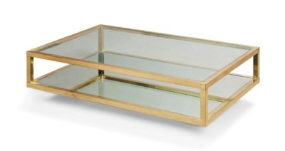 A GLASS AND BRASS TWO-TIER LOW