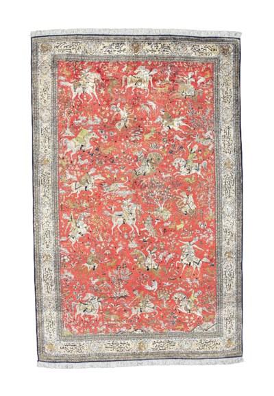A very fine silk Qum carpet