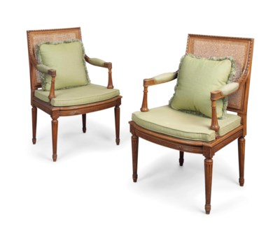 A PAIR OF FRENCH BEECH CANED O