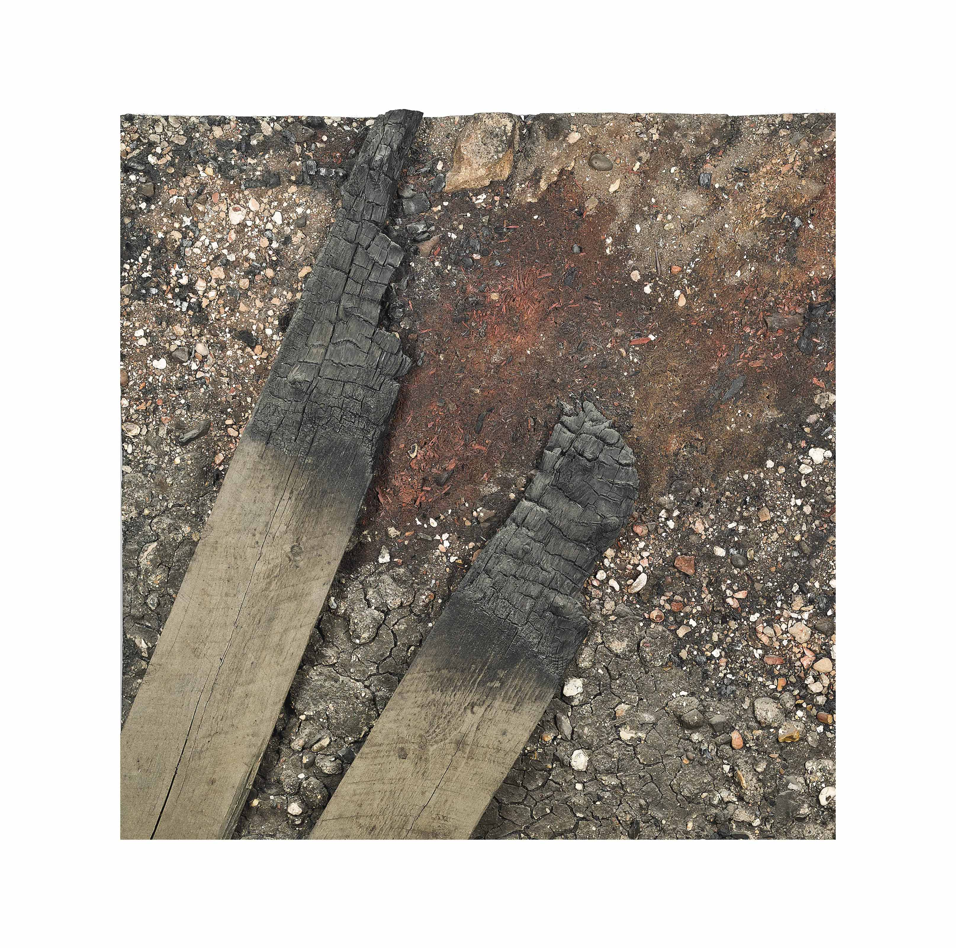 Docklands Series: Demolition site study with two burnt timbers and ash