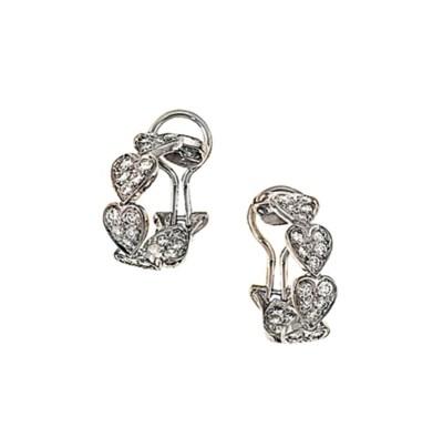 A pair of diamond-set earhoops