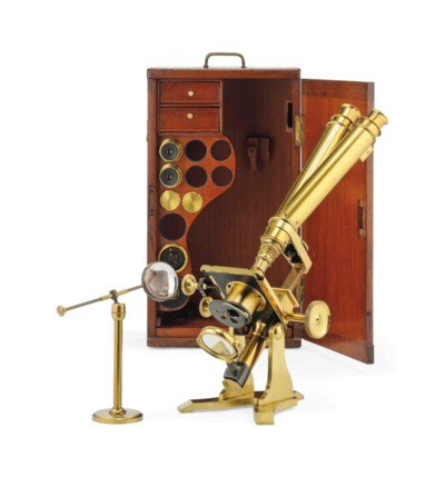A LACQUERED BRASS MICROSCOPE