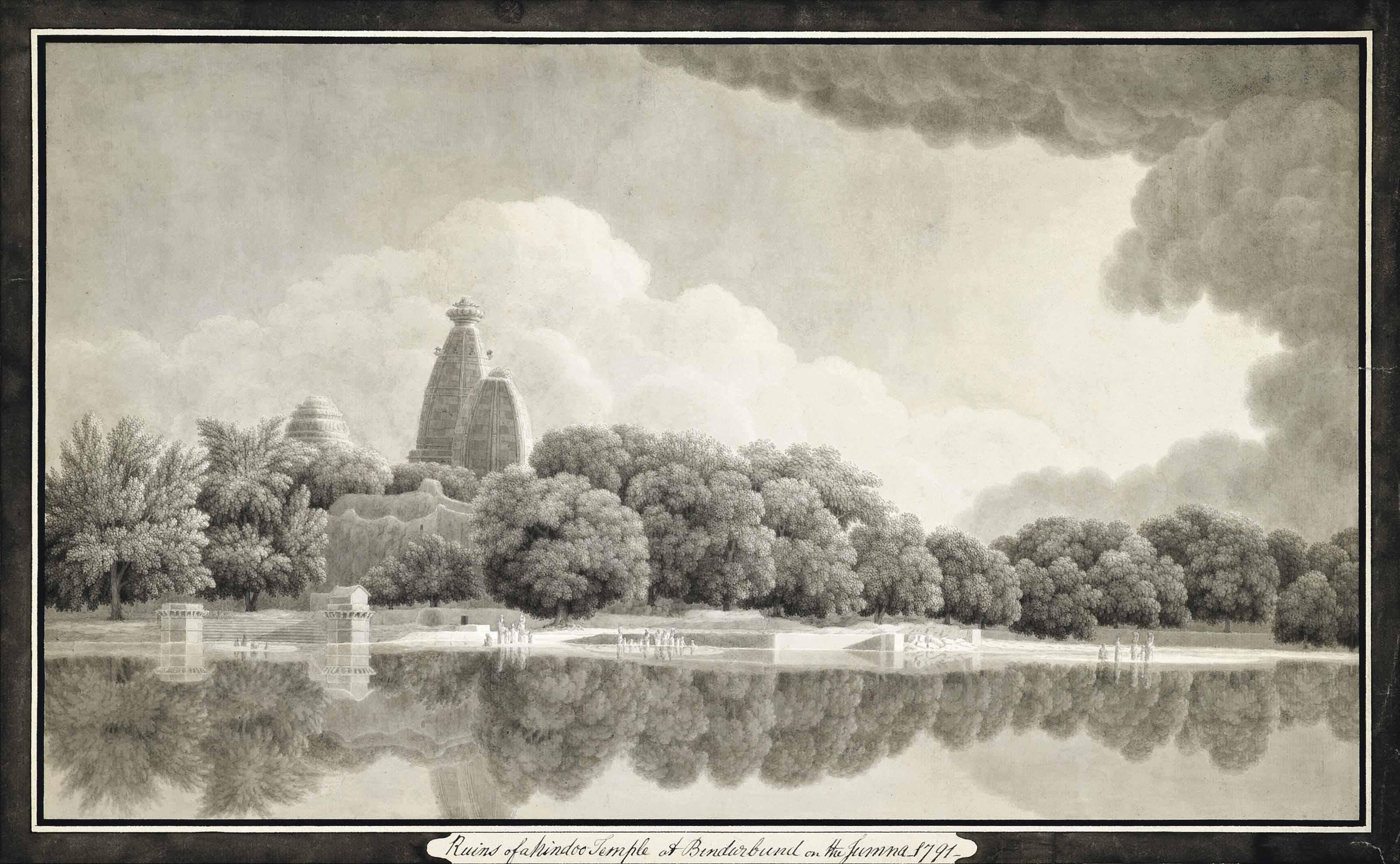 Ruins of a Hindu temple at Bindurbund on the Jumna, 1791