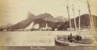 """Baie de Botafogo; Rio de Janeiro, Les docks et l'arsenal; Hotel Internatcional; Largo da Carioca; and Char a Boeufs, """"Minas"""""""