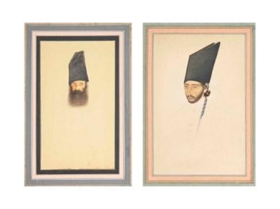 TWO PORTRAIT STUDIES OF QAJAR