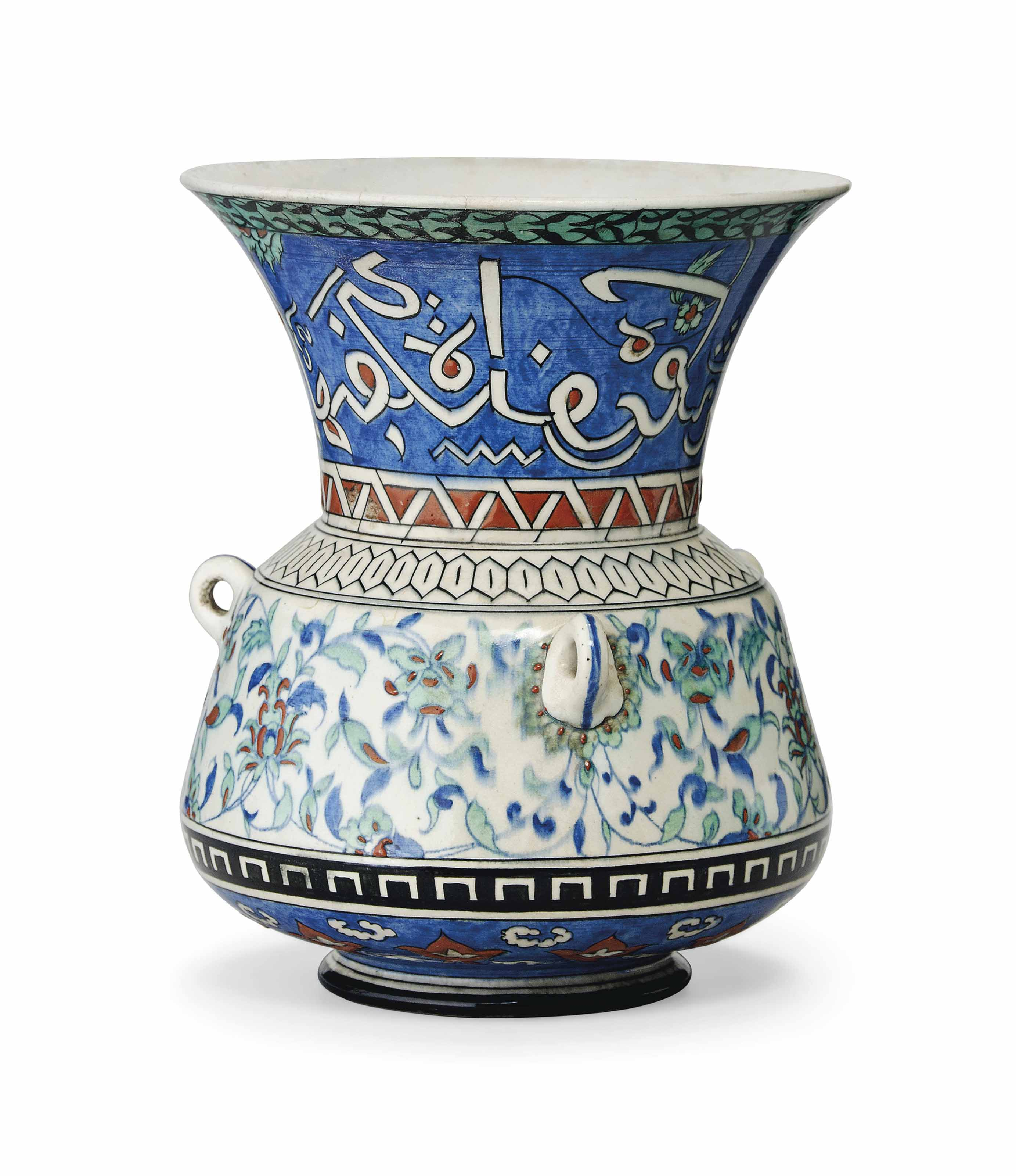 A SAMSON POTTERY MOSQUE LAMP IN THE IZNIK STYLE