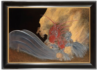 A Fine Lacquer Panel Depicting