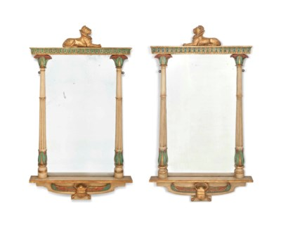 A PAIR OF POLYCHROME-PAINTED A