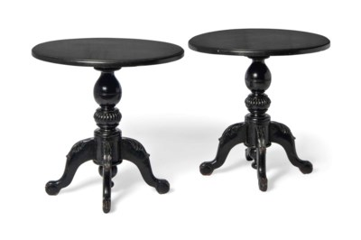 A PAIR OF EBONISED OCCASIONAL