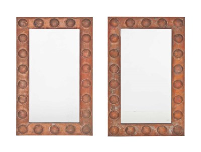 A PAIR OF COPPER 'ORB' MIRRORS