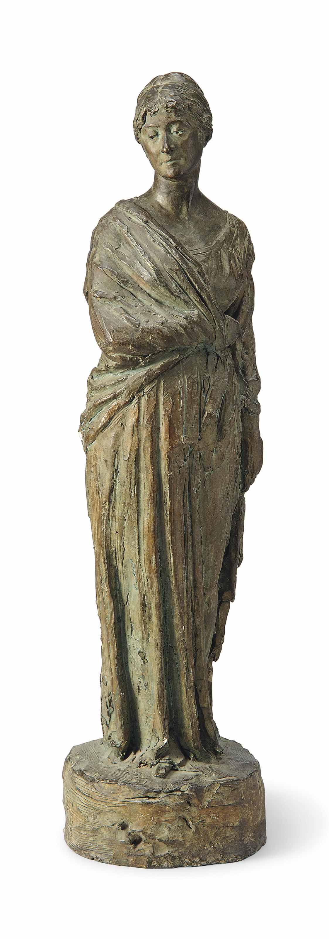 A BRONZED PLASTER FIGURE BELIEVED TO BE ALMINA COUNTESS OF CARNARVON