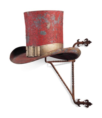 A FRENCH RED PAINTED AND GILT