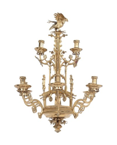 A VICTORIAN BRASS GOTHIC STYLE