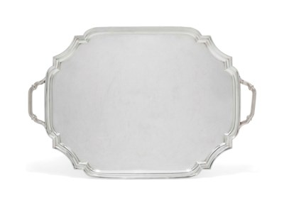 A SILVER TWO-HANDLED TRAY OF S
