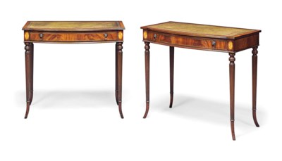 A PAIR OF MAHOGANY AND MARQUET