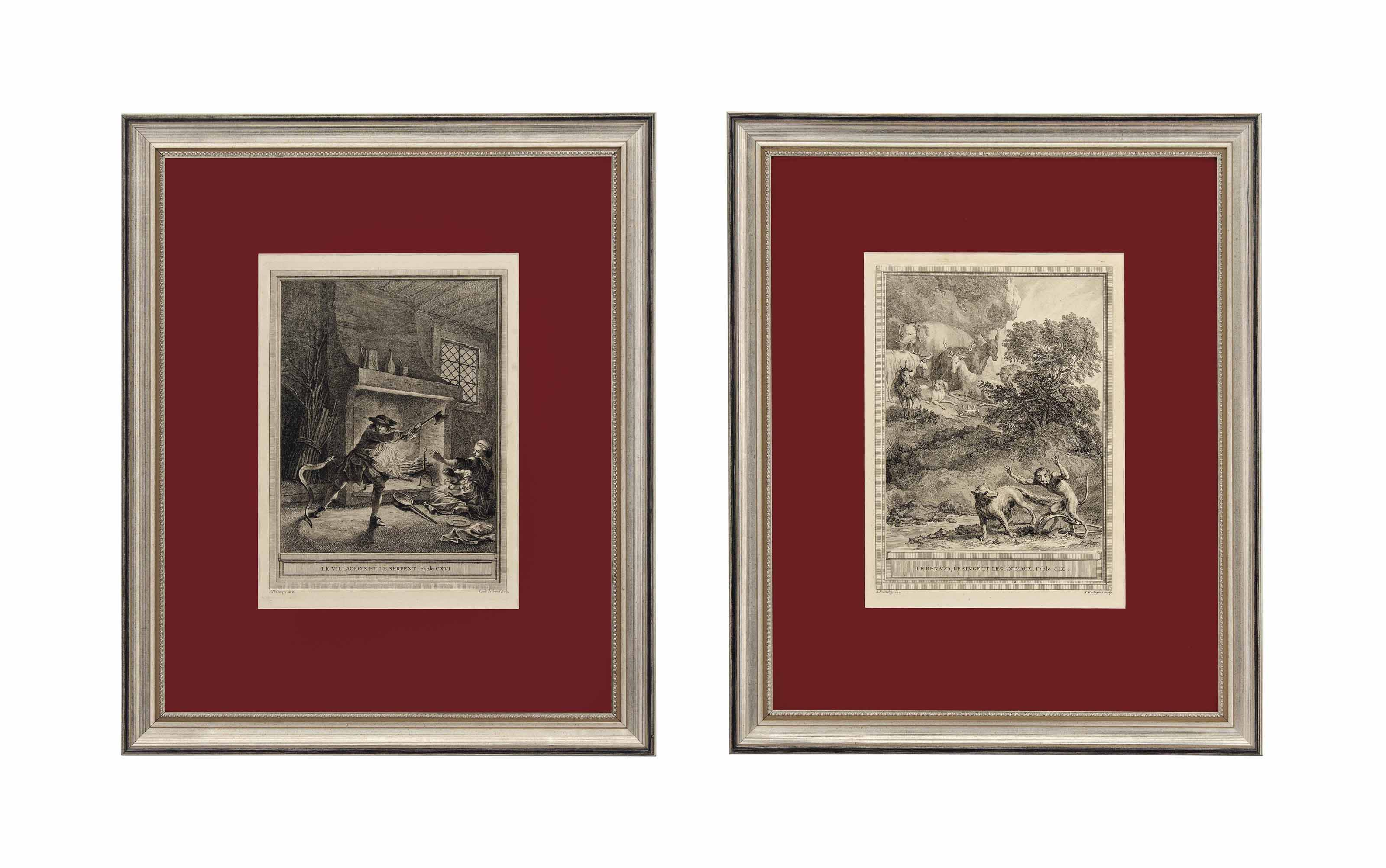 TEN FRENCH ENGRAVINGS OF LA FONTAINE'S FABLES