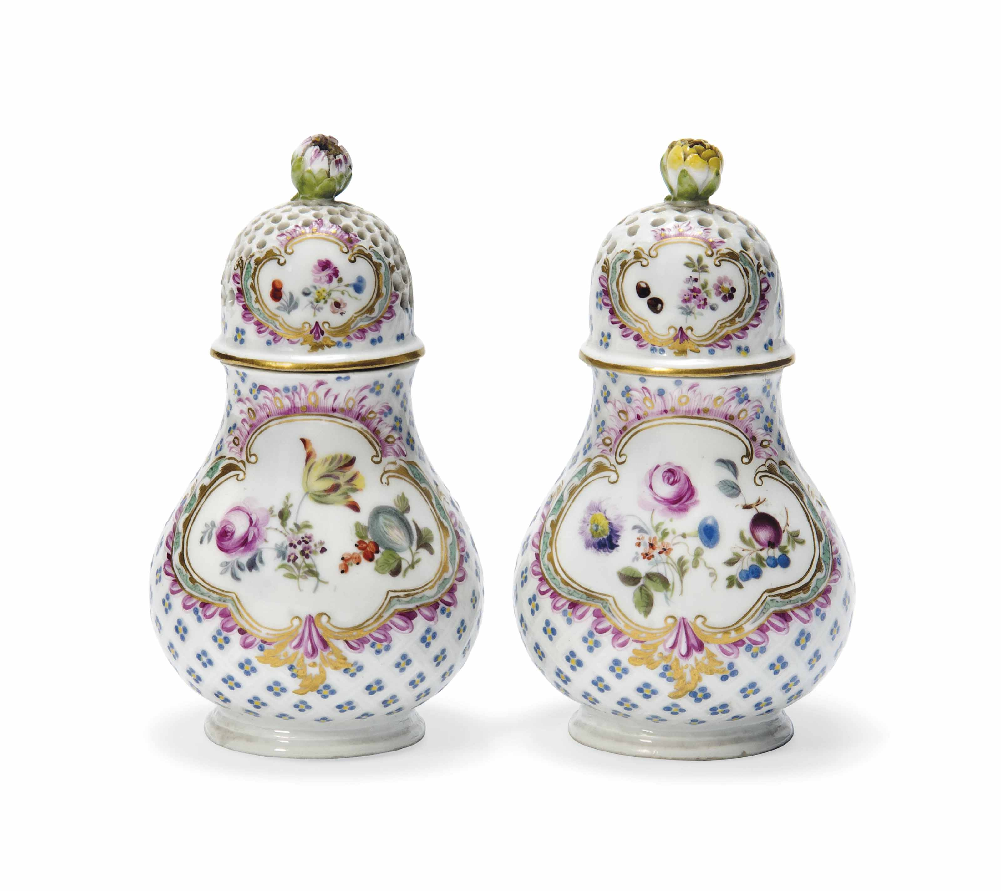 A PAIR OF MEISSEN SUGAR-CASTERS