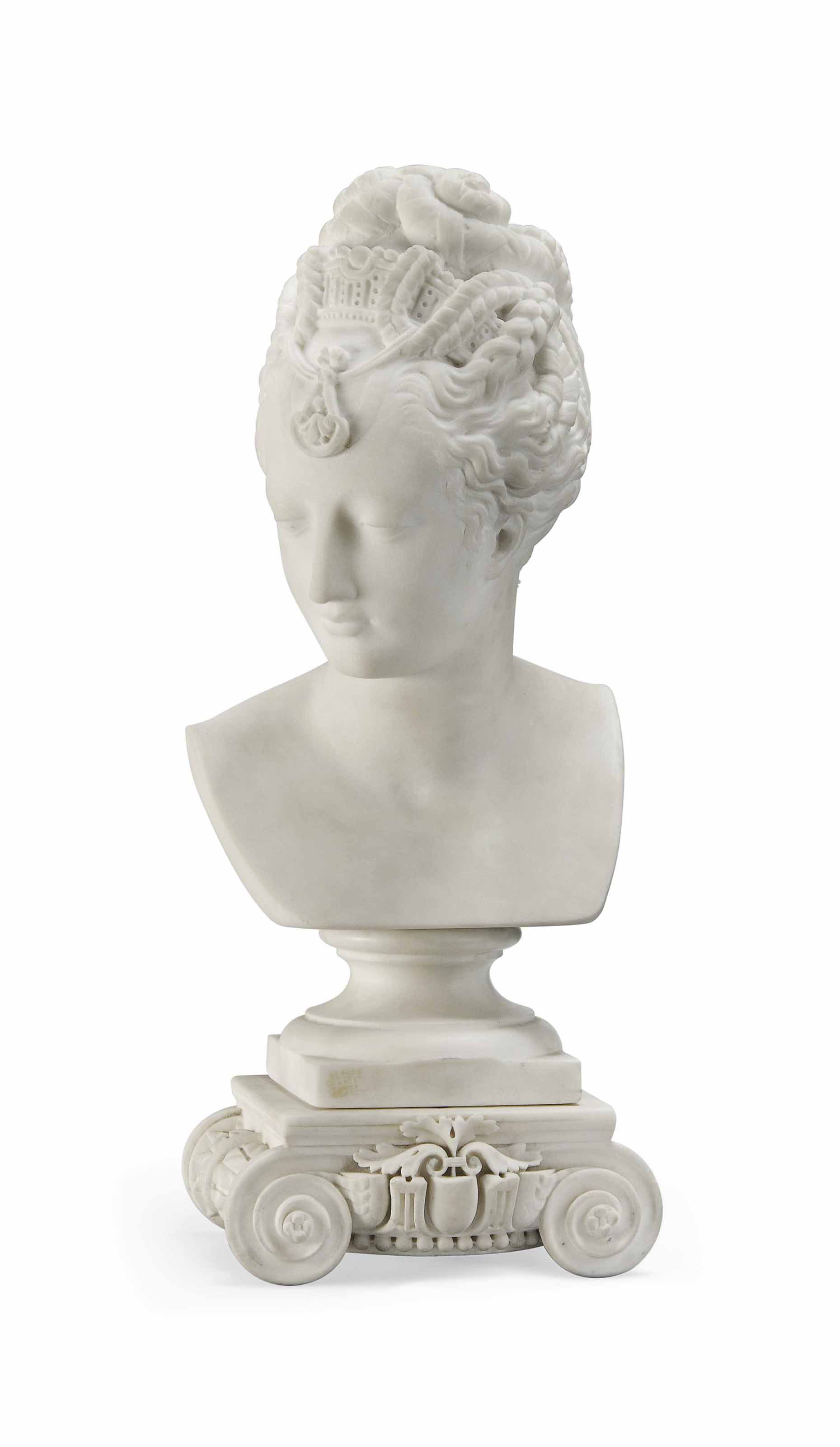A FRENCH MARBLE BUST OF A CLASSICAL LADY