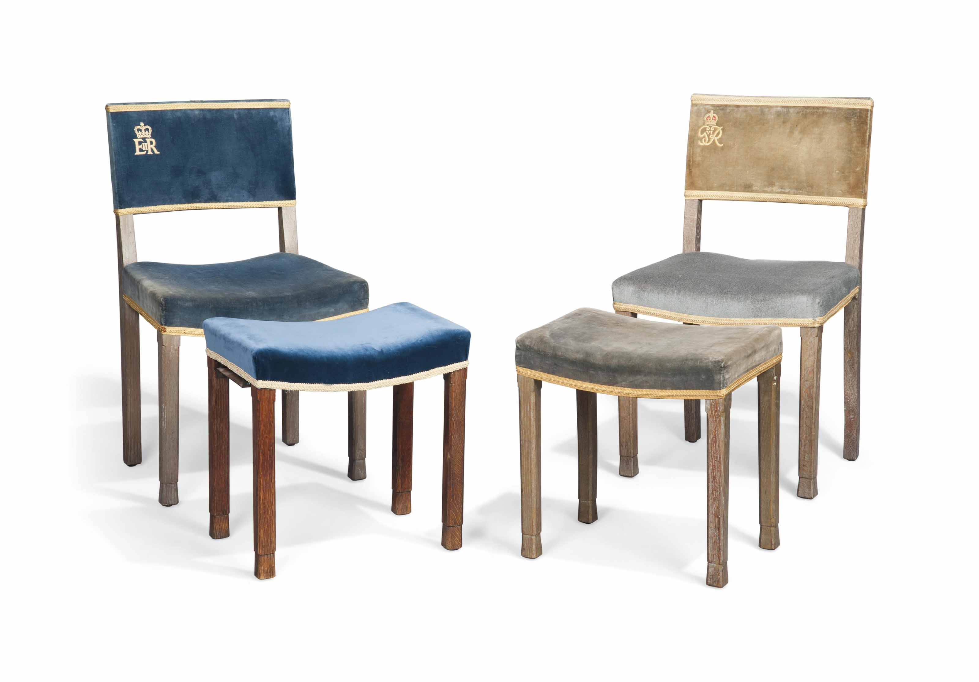 A GROUP OF OAK CORONATION CHAIRS AND STOOLS