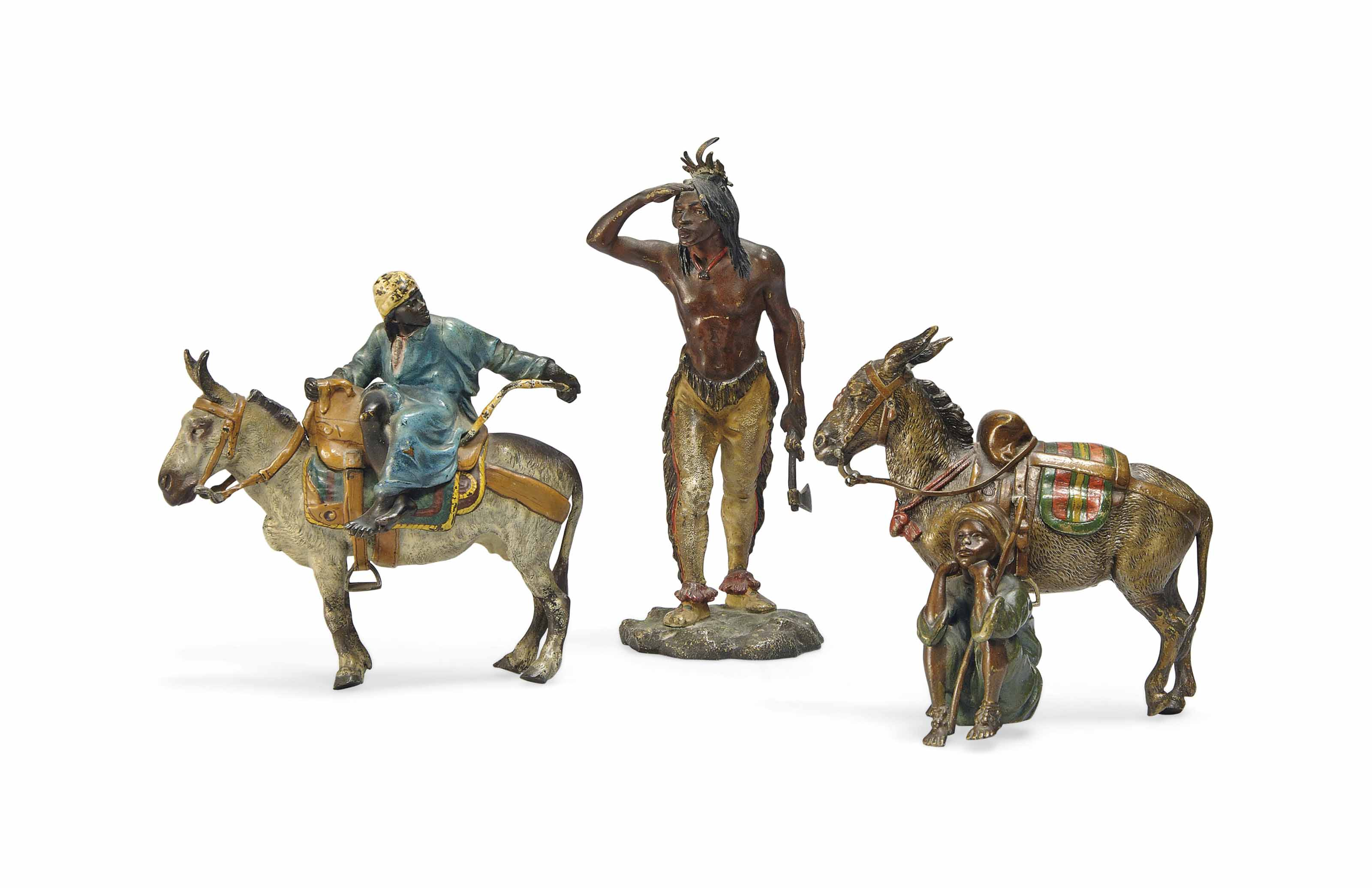 A GROUP OF THREE AUSTRIAN COLD-PAINTED BRONZE FIGURES
