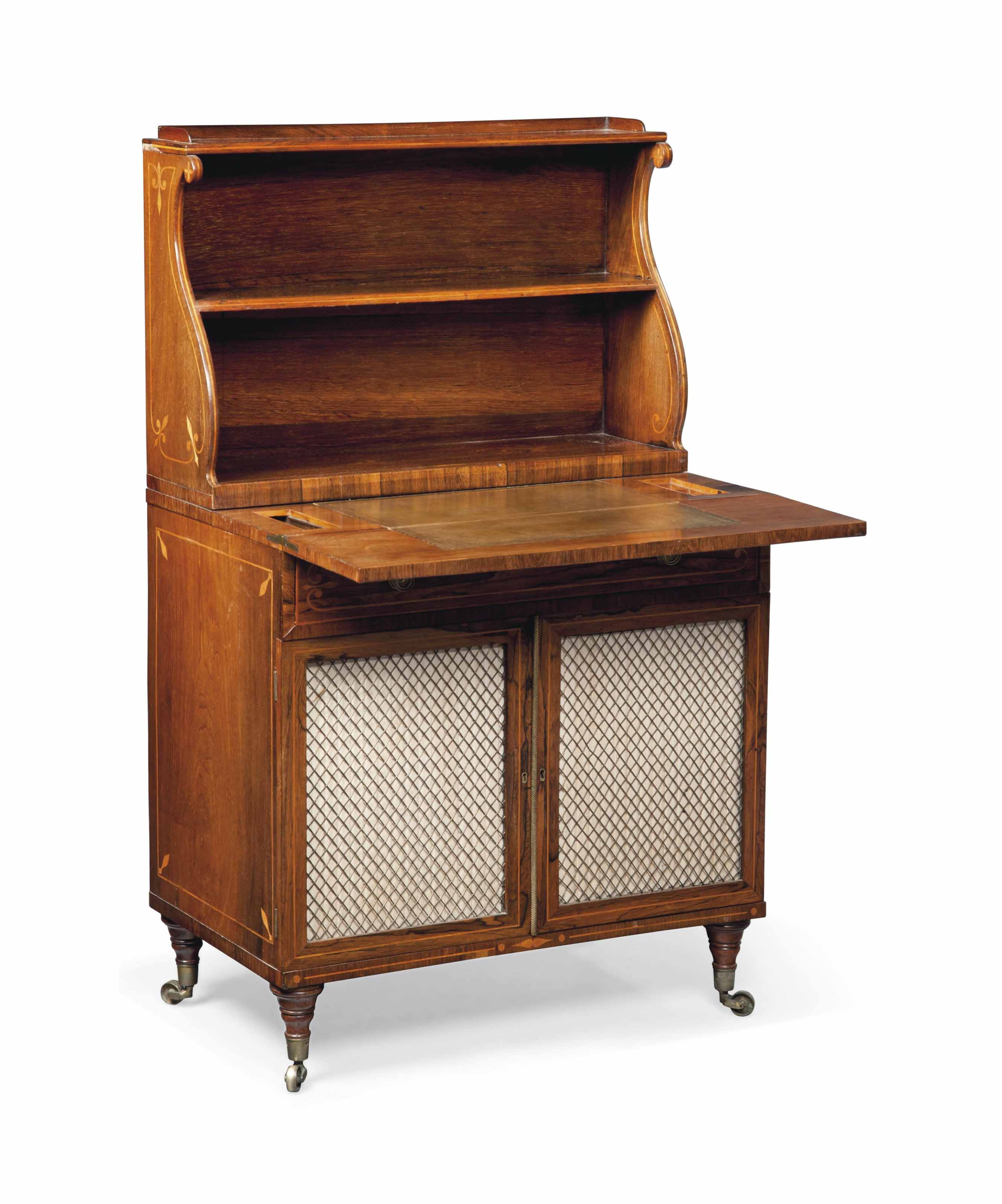 A REGENCY ROSEWOOD AND SYCAMORE INLAID SIDE CABINET