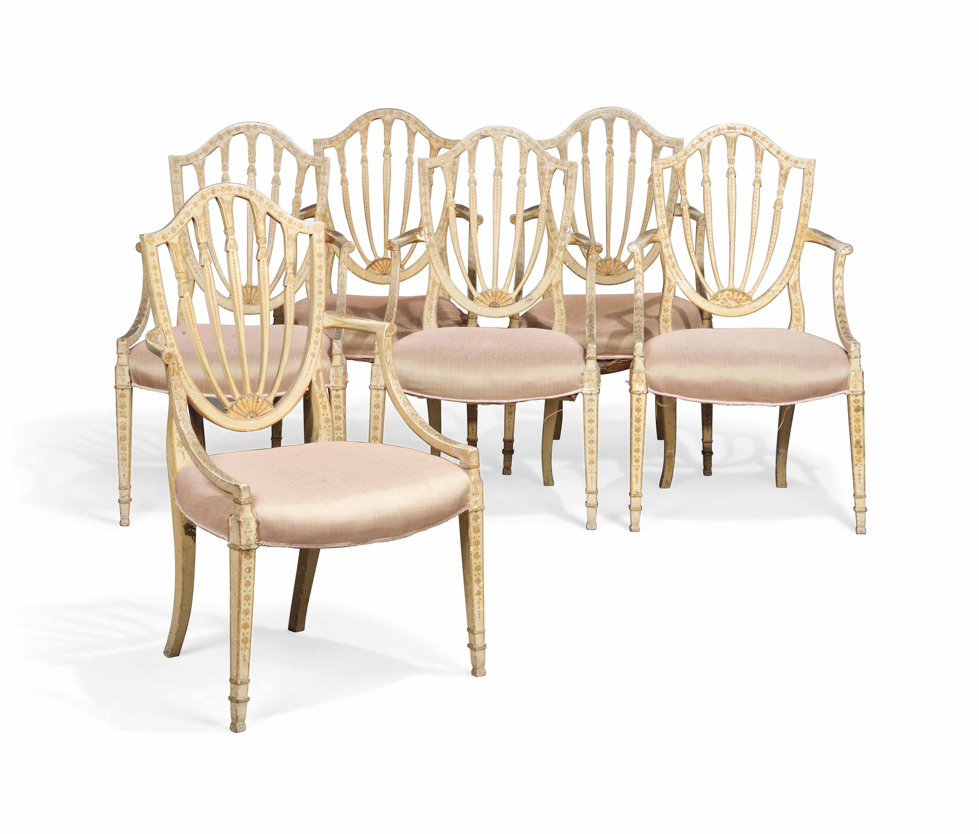 A SET OF SIX GEORGE III CREAM-PAINTED OPEN ARMCHAIRS