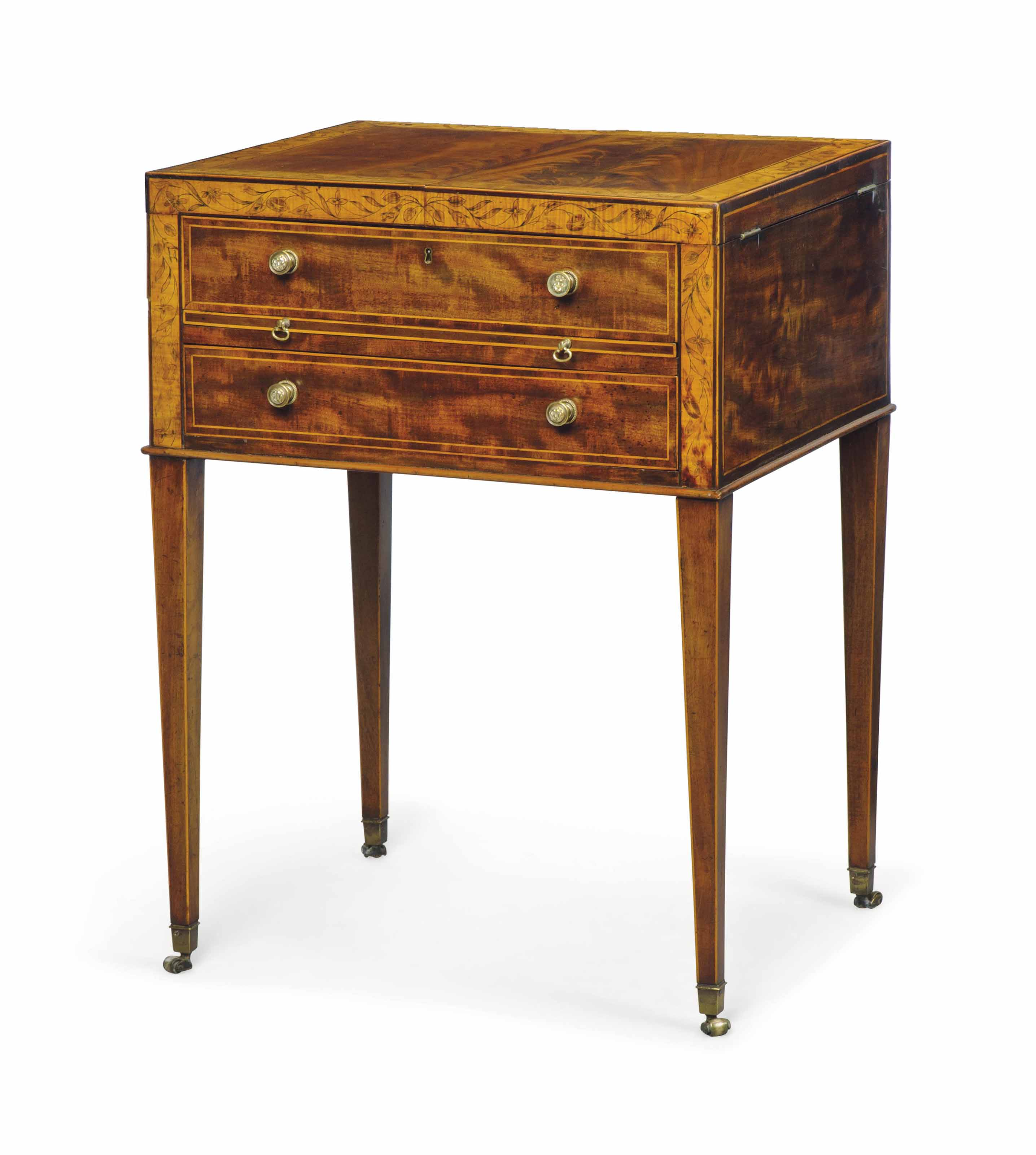 A GEORGE III MAHOGANY, SYCAMORE-BANDED AND PENWORK GENTLEMAN'S DRESSING TABLE