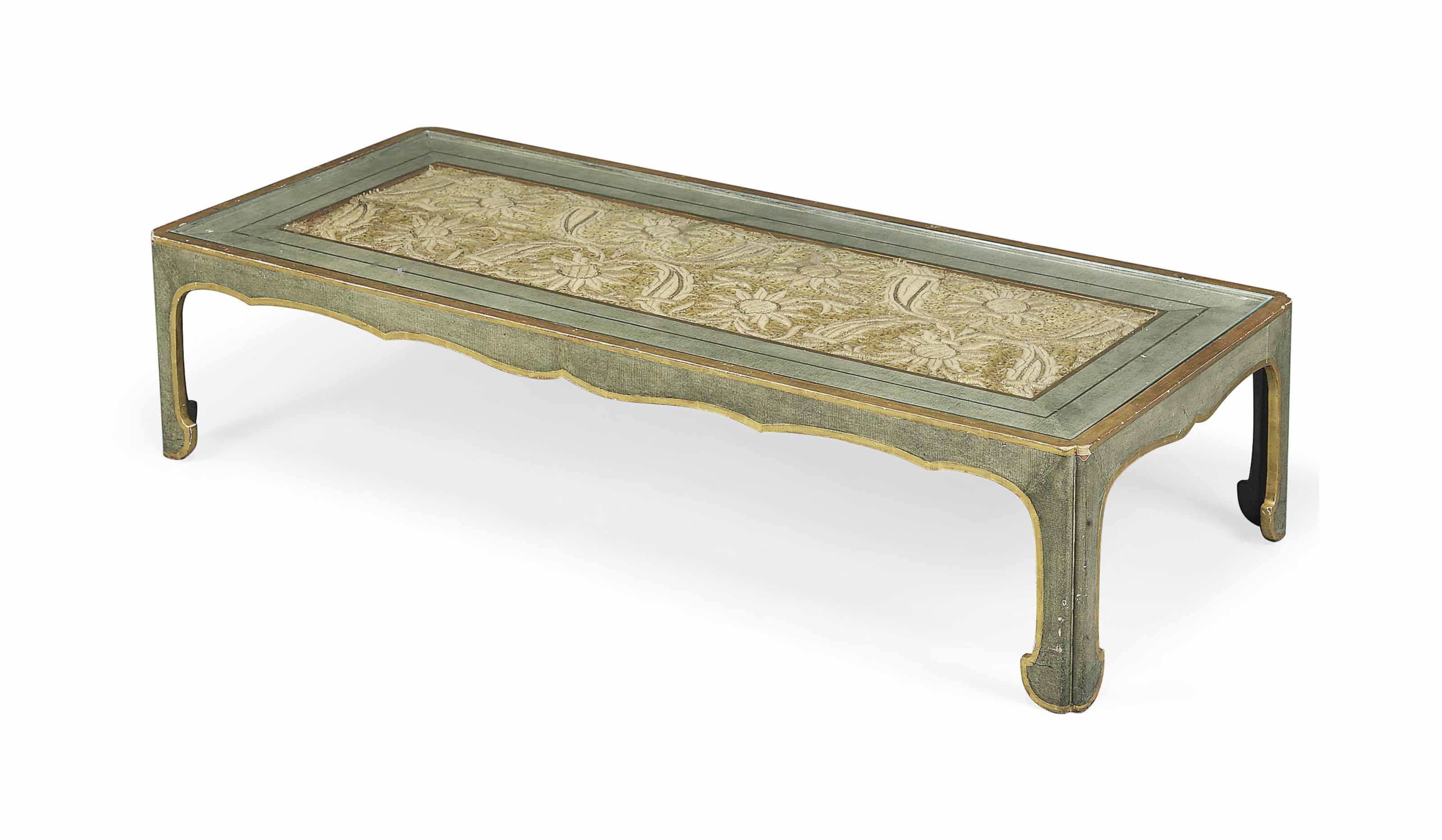 A GREEN-PAINTED AND PARCEL-GILT LOW TABLE
