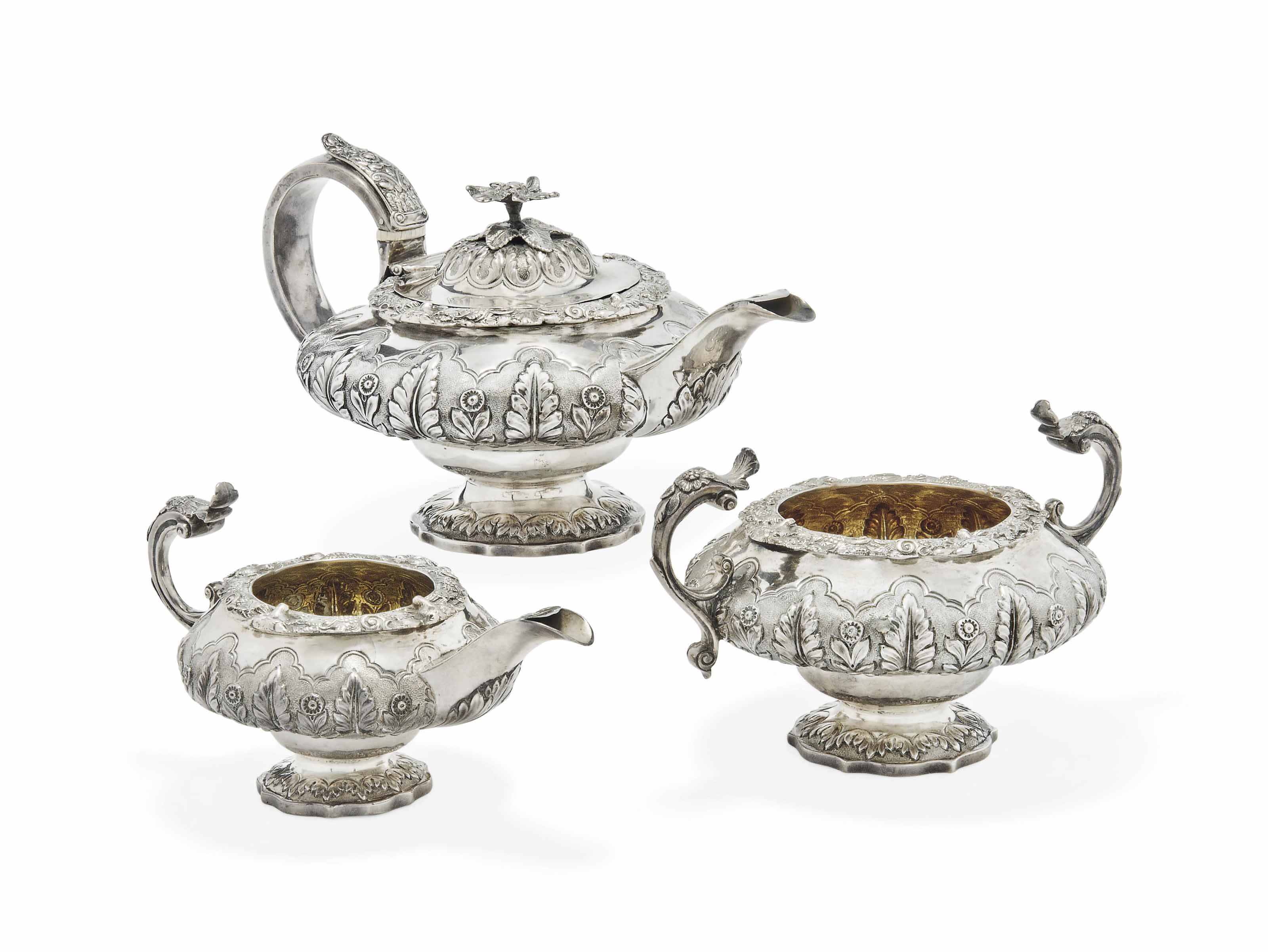 A GEORGE IV SILVER THREE-PIECE TEASET