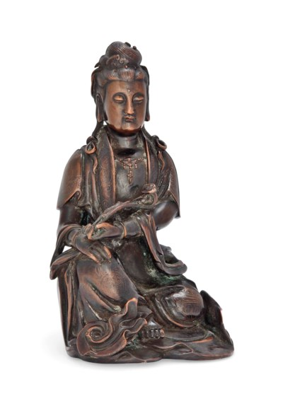 A CHINESE INLAID BRONZE SEATED