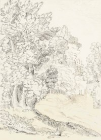 Arcadian scene with a classical figure beside a wooded path