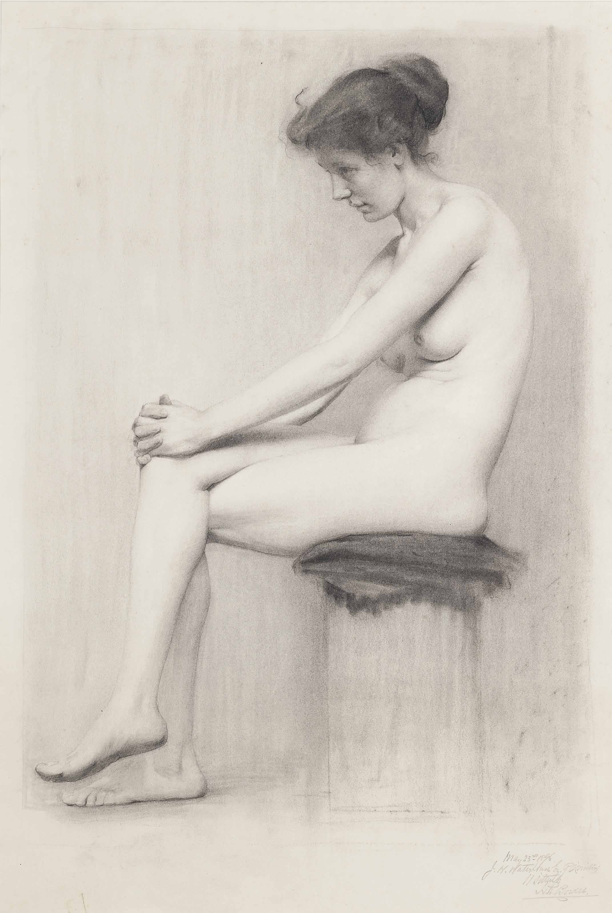 A pair of female nude examination studies for the Royal Academy School