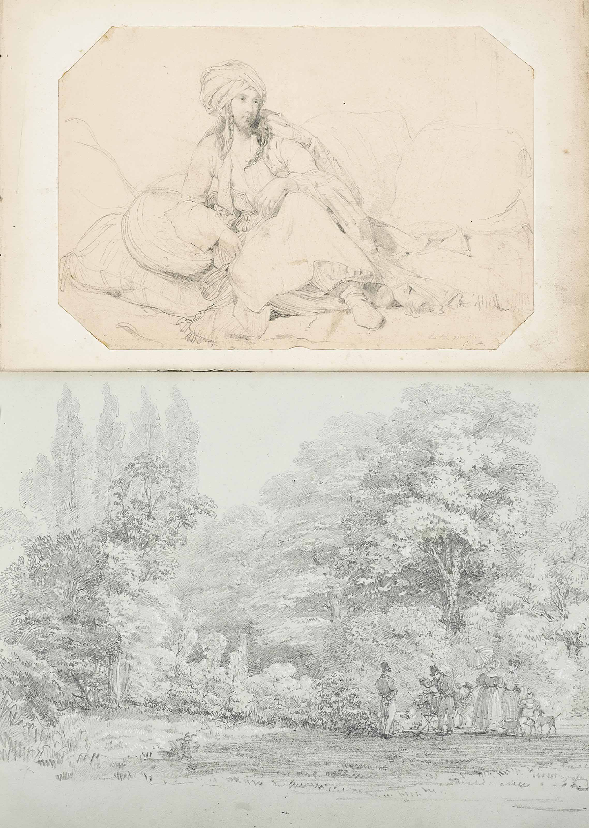 A quantity of unframed drawings and watercolours, mostly by or attributed to Louis Haghe, P.R.I. (1806-1885) and also to Carl Haghe and Louis Gallait, the majority landscape subjects, portraits and figure studies, and copies after Old Masters including; Intricate views of Buckingham Palace and Windsor Palace;  An Odalisque (illustrated);  and A drawing of a painting party (illustrated)