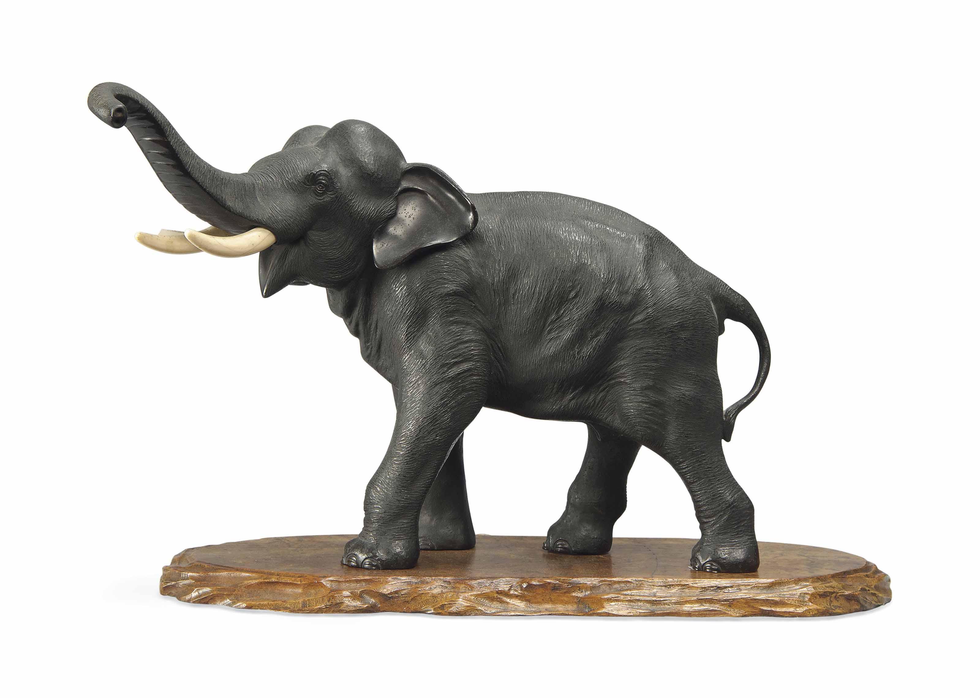 A Japanese Bronze Model of an Elephant | SIGNED SEIYA SAKU, MEIJI