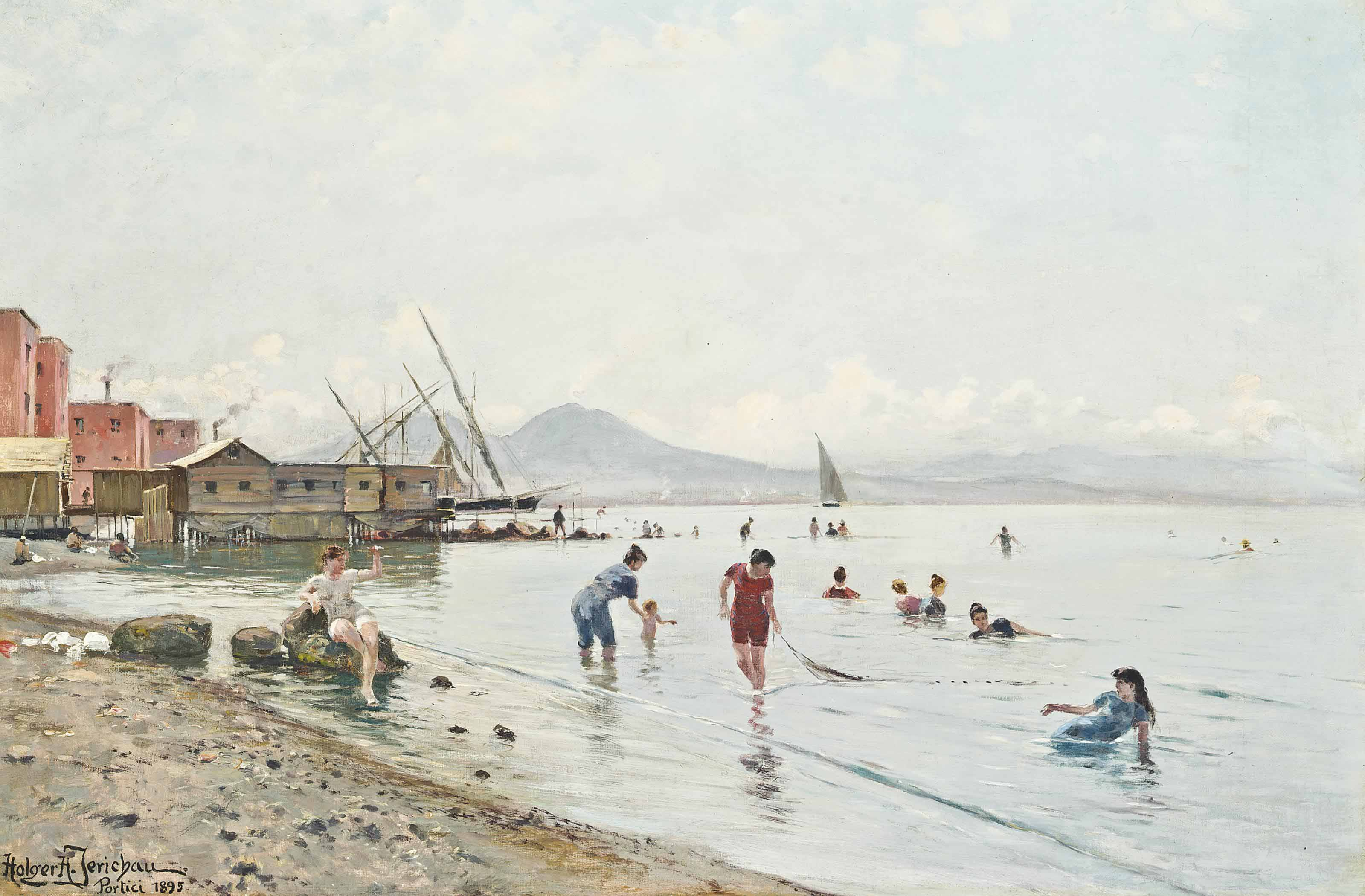 Bathers at Portici , Vesuvius beyond